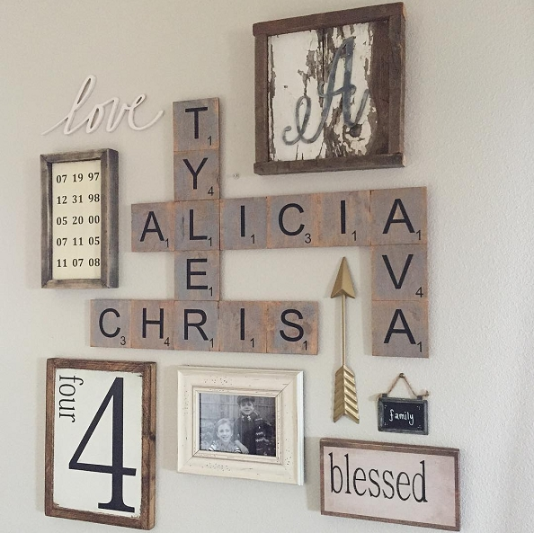 Family Wood Scrabble Wall Art – Crafty Morning Pertaining To Scrabble Letter Wall Art (View 4 of 20)