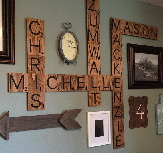 Family Wood Scrabble Wall Art – Crafty Morning Throughout Scrabble Names Wall Art (View 5 of 20)