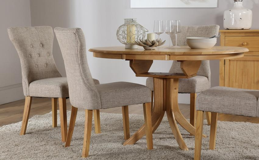 Fantastic Extendable Dining Table Set With Round Extending Oak In Newest Extendable Round Dining Tables Sets (View 3 of 20)