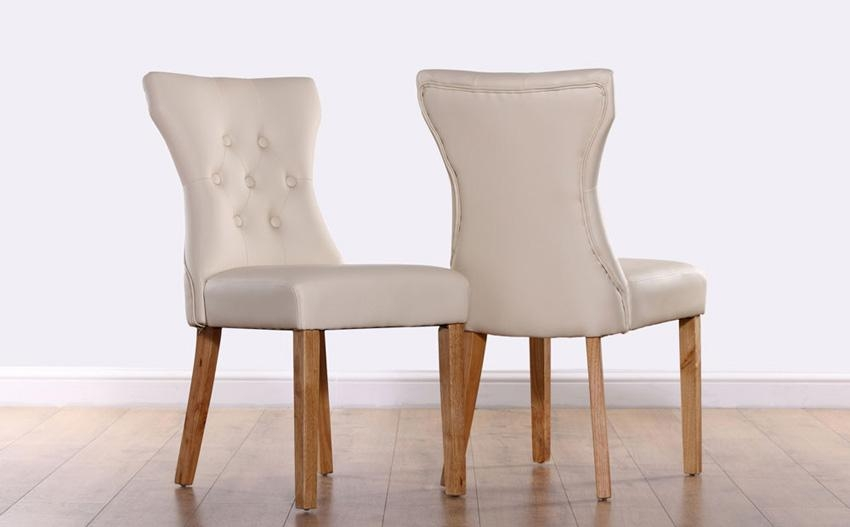 Fantastic Ivory Dining Chairs With Bewley Ivory Leather Button Pertaining To 2017 Oak Leather Dining Chairs (Image 10 of 20)