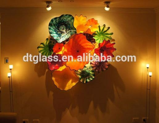 Fantastic Murano Glass Flower Plates Wall Hanging Light Art For Within Glass Wall Art For Sale (View 16 of 20)