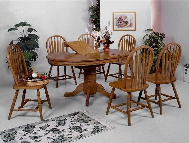 Farmhouse Oak Dining Table And 4 Side Chairs | Lexington Overstock In Oak Dining Sets (Image 8 of 20)