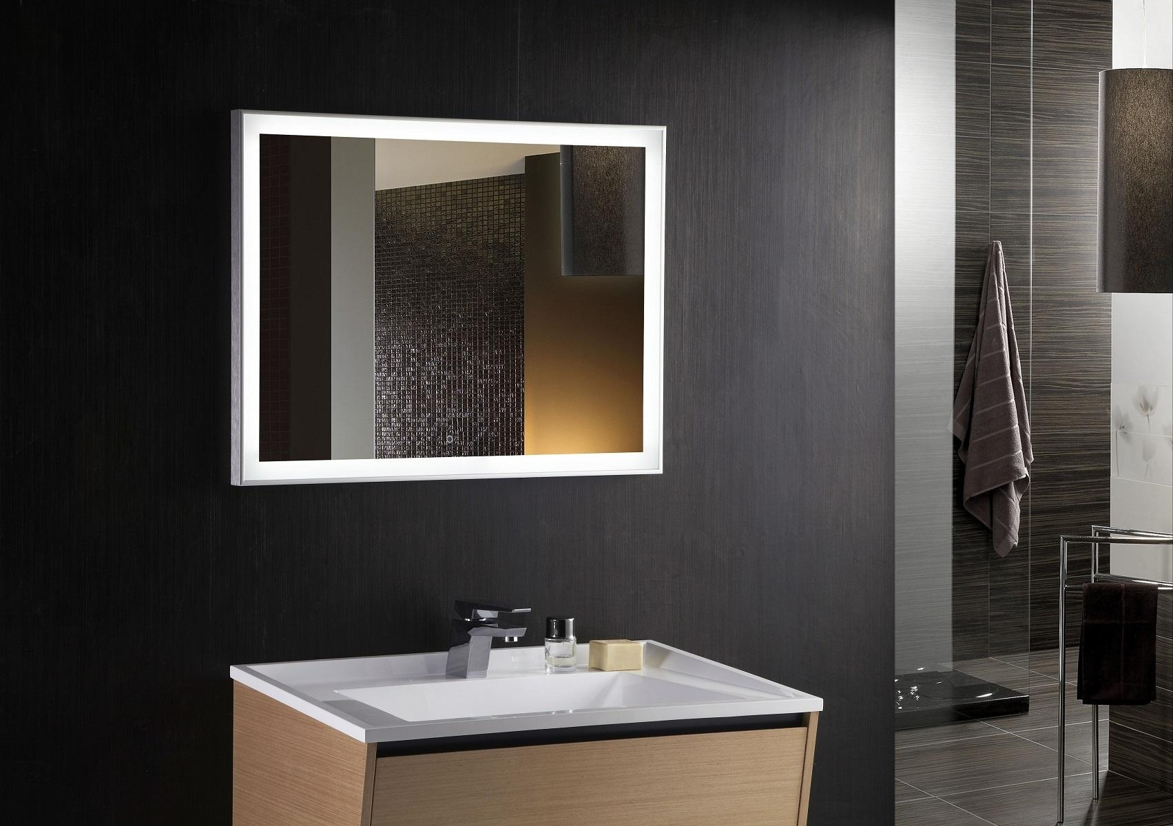 Fascinating Lighted Bathroom Mirrors Led Illuminated Mirror With Regarding Led Lit Bathroom Mirrors (Image 18 of 20)