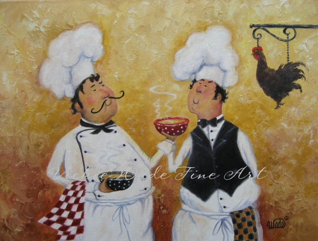 Fat Chefs Art Print Chef Paintings Art Kitchen Art Wall Inside Italian Chef Wall Art (Image 12 of 20)