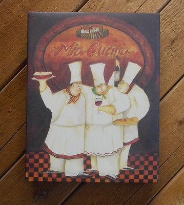 Fat Italian Chef Canvas Wall Art Wall Hanging Wine Red Black Brown Pertaining To Italian Chef Wall Art (Image 13 of 20)