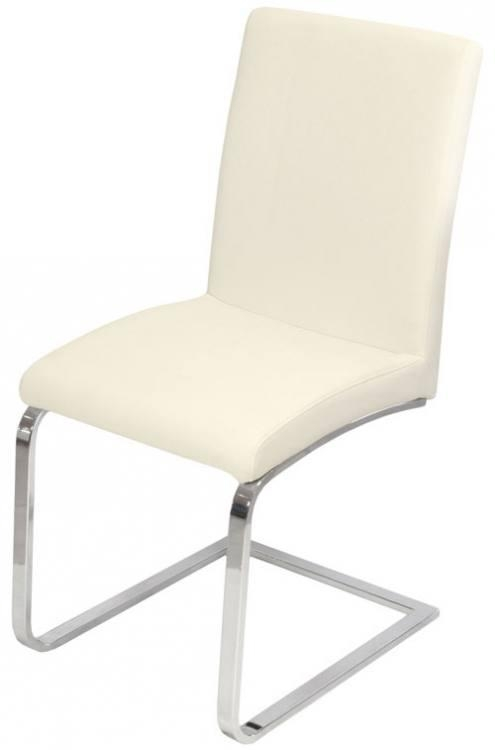 Febland – Sprung Steel Dining Chairs – Chrome Frame Carver Intended For Latest Cream Faux Leather Dining Chairs (Image 9 of 20)