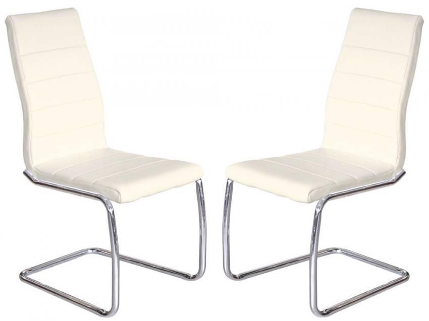 Febland – Svenska Steel Chrome Frame Dining Chairs – Cream Faux Throughout Current Cream Faux Leather Dining Chairs (Image 10 of 20)