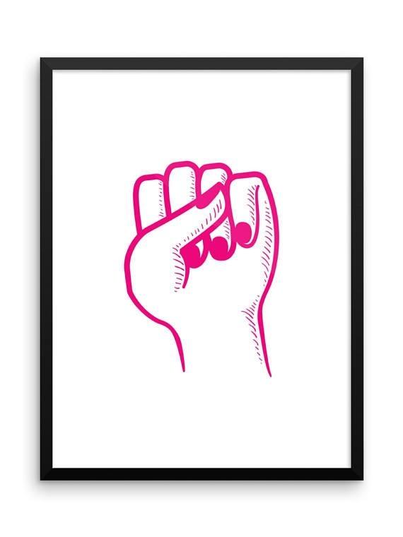 Female Fist Digital Print Girl Power Feminist Wall Art For Feminist Wall Art (Image 8 of 20)