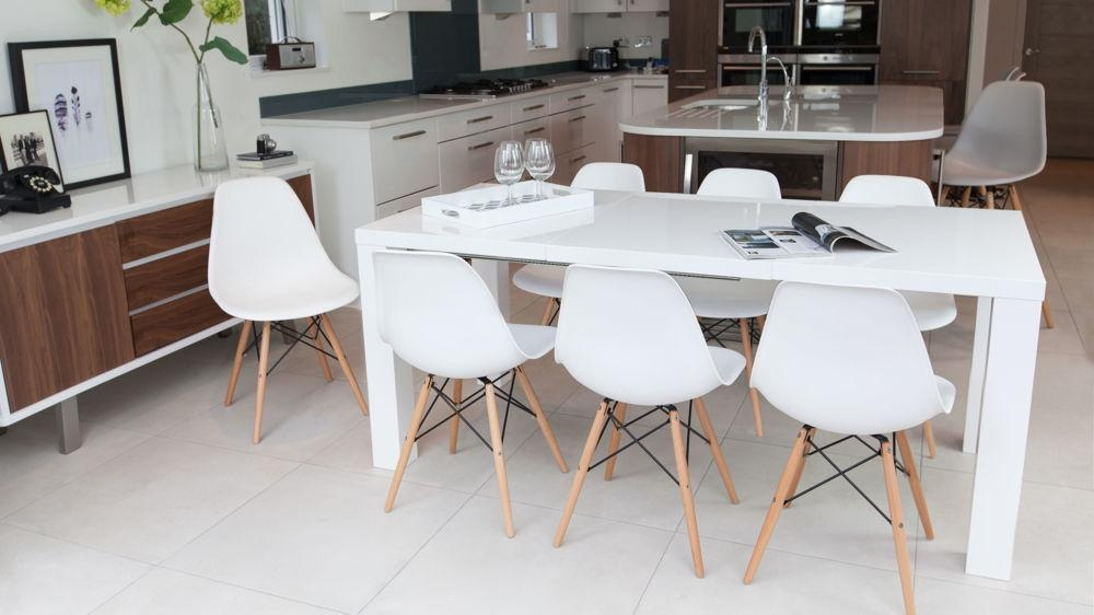 Fern White Gloss Extending Dining Table | Danetti Uk Pertaining To Newest High Gloss White Dining Chairs (Image 8 of 20)