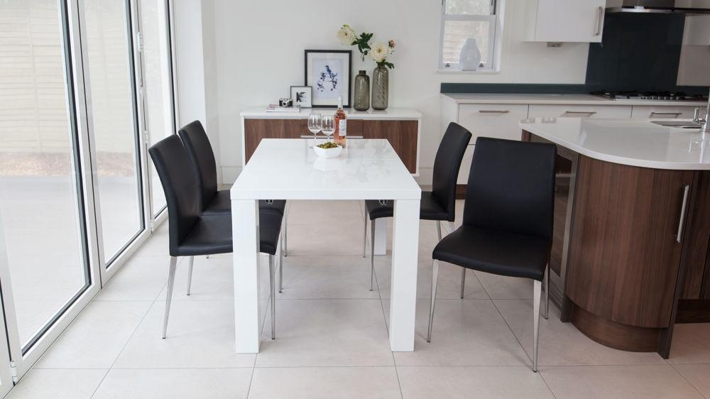 Fern White Gloss Extending Dining Table | Danetti Uk With Gloss Dining Set (Image 11 of 20)
