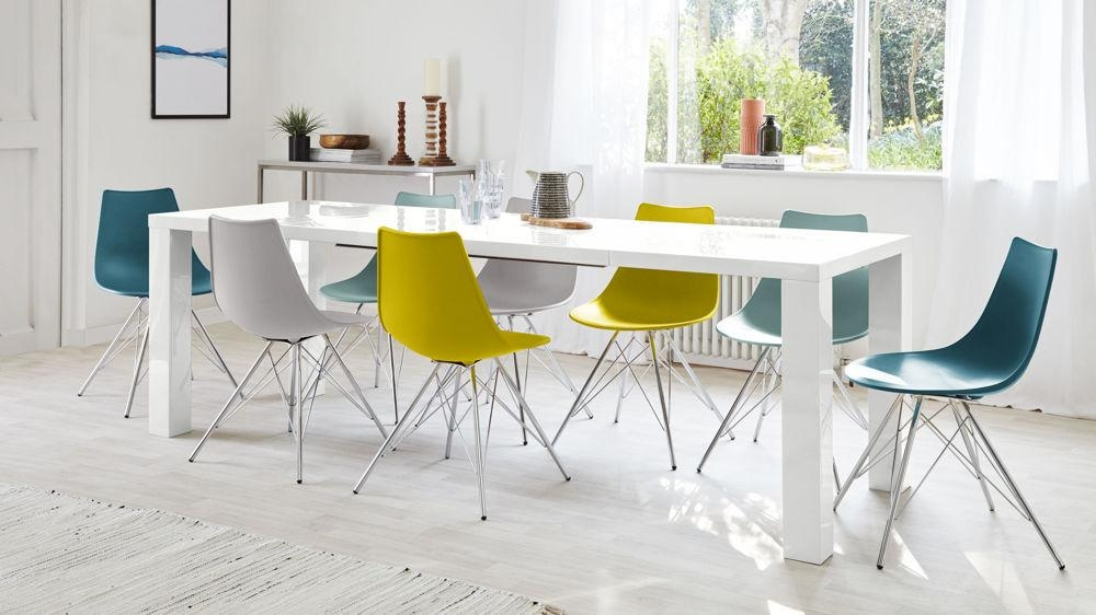 Fern White Gloss Extending Dining Table | Danetti Uk With Regard To Newest White Gloss Dining Room Tables (Image 7 of 20)