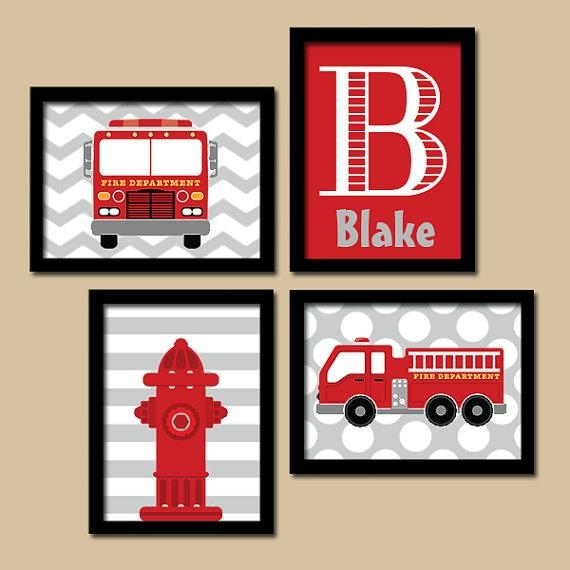 Fire Truck Wall Art Canvas Or Prints Boy Child Name Hydrant Intended For Fire Truck Wall Art (View 8 of 20)