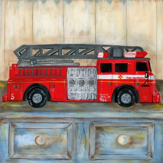 Firetruck Wall Art, Kids Firefighter Wall Art, Firefighter Room Decor For Fire Truck Wall Art (View 13 of 20)