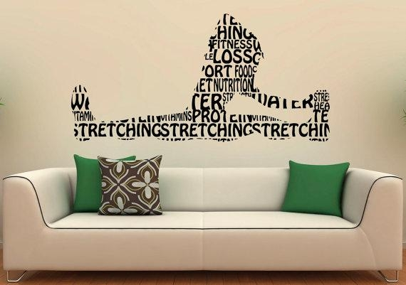 Fitness Wall Decal Gym Wall Stickers Sports Interior Bedroom Regarding Wall Art For Home Gym (Image 12 of 20)