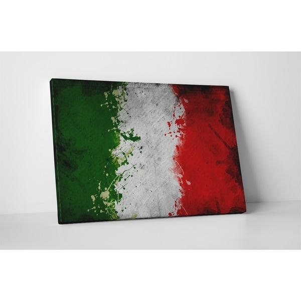 Flags 'vintage Italy Flag' Gallery Wrapped Canvas Wall Art – Red Within Italian Flag Wall Art (Image 8 of 20)