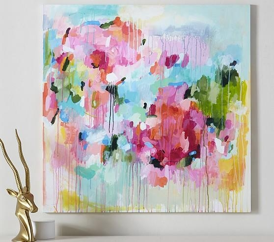Floral Color Pop Canvas Wall Art | Pottery Barn Kids With Floral Wall Art Canvas (Image 8 of 20)