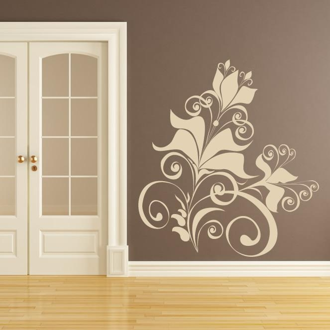 Floral Design Wall Art Sticker Wall Decal Transfers | The Best Pertaining To Wall Art Designs (Image 8 of 20)
