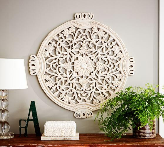 Floral Wall Medallion | Pottery Barn Regarding White Medallion Wall Art (Image 9 of 20)