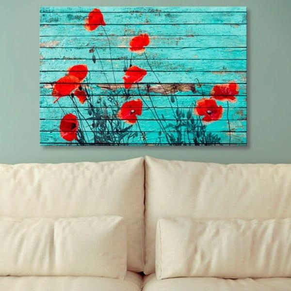 Floral Wood Grain Print Wall Art Canvas Painting, Blue, Pc: Inch With Floral Wall Art Canvas (Image 10 of 20)