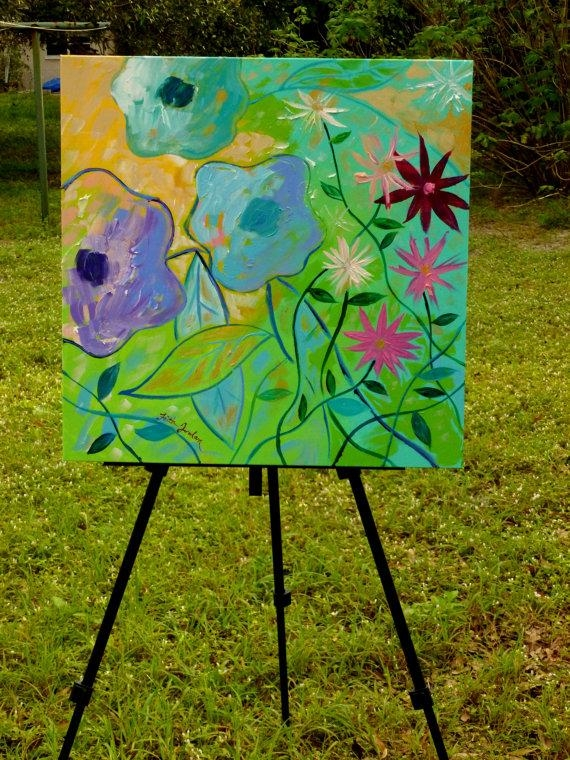 Flower Ballet 24X24 Whimsical Art Floral Painting Original With Regard To Nvga Wall Art (Image 2 of 20)