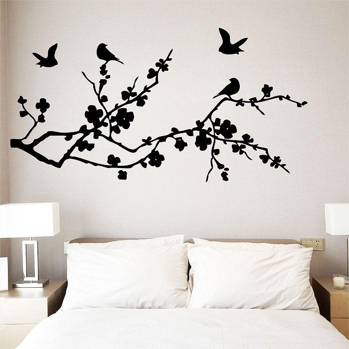 Fly On Cherry Blossom Vinyl Wall Art Decal Intended For Cherry Blossom Vinyl Wall Art (Image 17 of 20)