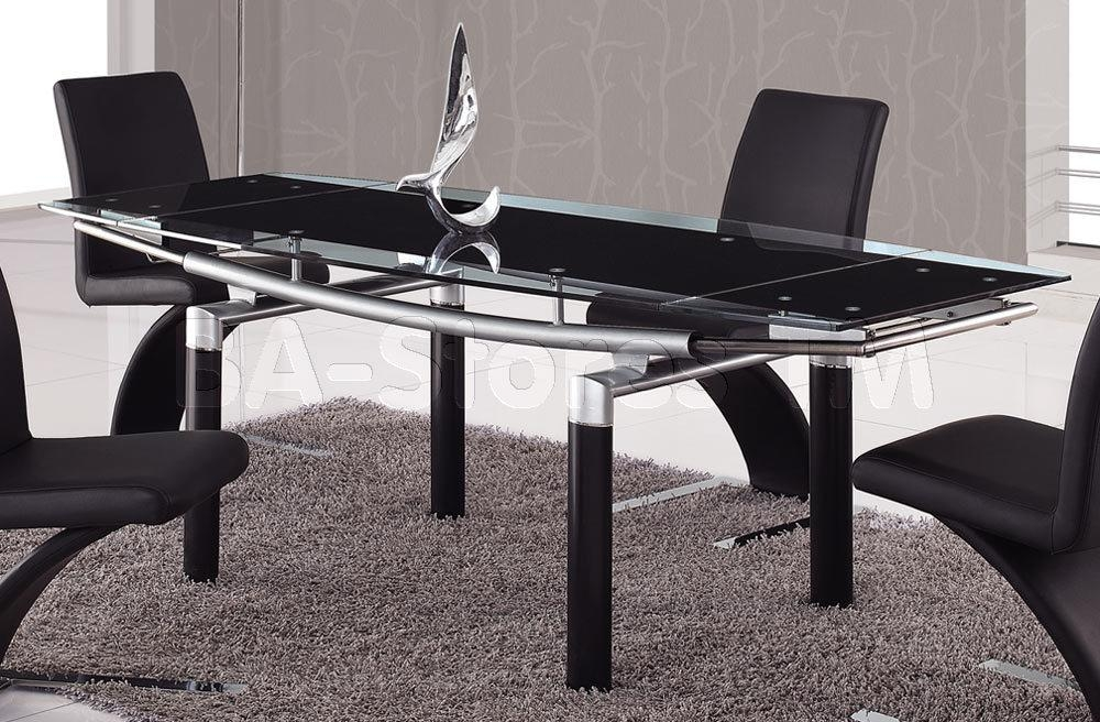 Foldable Black Glass Top Dining Table With Black Legs – Global F Pertaining To Current Dining Tables Black Glass (Image 14 of 20)