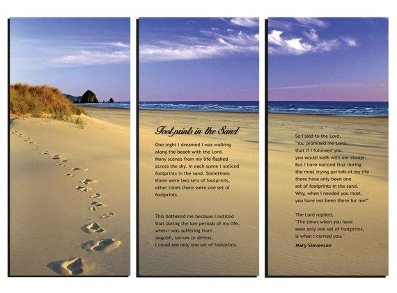 Footprints In The Sand Poem Canvas Wall Art Framed Huge With Regard To Footprints In The Sand Wall Art (View 4 of 20)