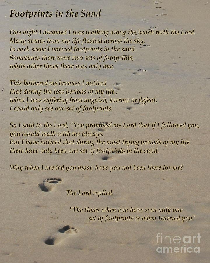 Footprints In The Sand Poem Photographbob Sample For Footprints In The Sand Wall Art (Image 9 of 20)