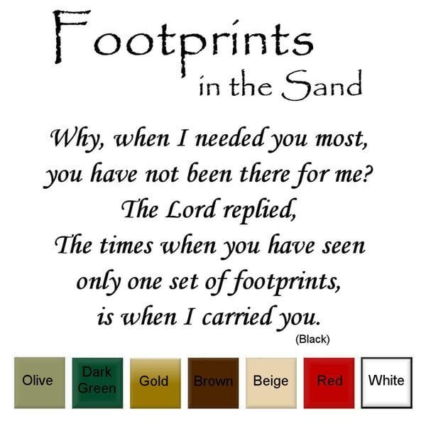 Footprints In The Sand' Vinyl Wall Art Decal – Free Shipping On Throughout Footprints In The Sand Wall Art (Image 14 of 20)