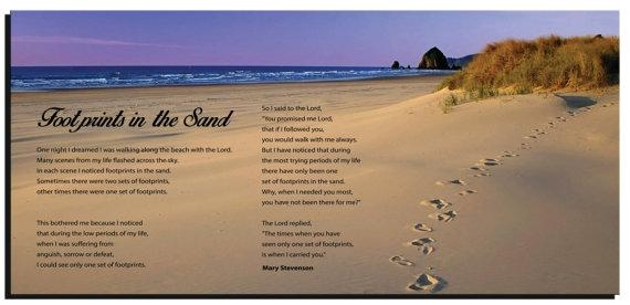 Footprints In The Sand Wall Quotes Framed Canvas Gallery With Regard To Footprints In The Sand Wall Art (Image 13 of 20)