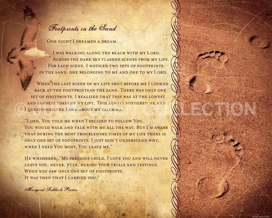 Footprints Poem Christian Gift Religious Home Decor Intended For Footprints In The Sand Wall Art (View 16 of 20)