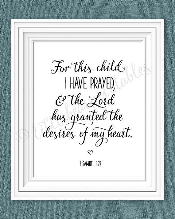 For This Child I Have Prayed Printable Nursery Wall Art The For For This Child I Prayed Wall Art (View 6 of 20)