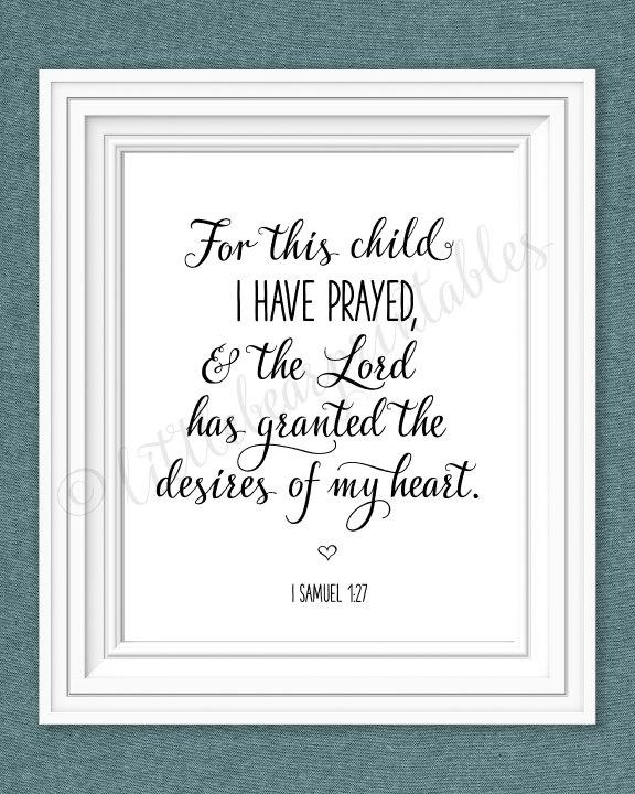 For This Child I Have Prayed Printable Nursery Wall Art The With For This Child I Have Prayed Wall Art (Image 12 of 20)