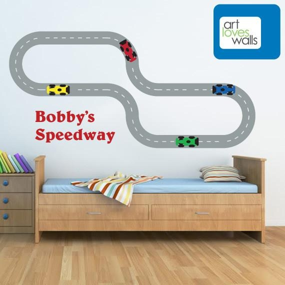 Formula One Race Car Track Wall Decal – Art Loves Walls | Art Pertaining To Race Track Wall Art (Image 5 of 20)