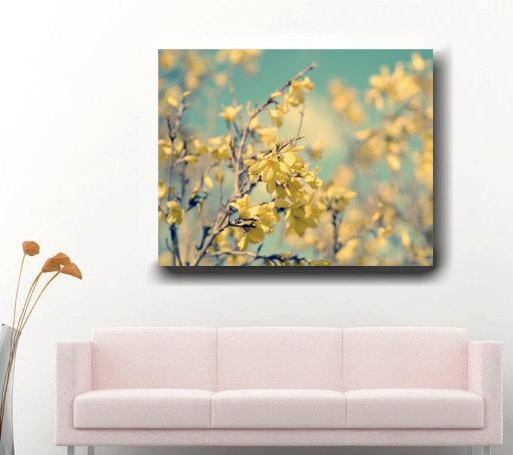 Forsythia Photography | Mint Green Wall Art | Yellow Flower Canvas Art In Floral Wall Art Canvas (Image 11 of 20)