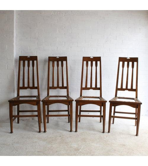 Four Arts & Crafts Glasgow School Dining Chairs – Antiques Atlas Pertaining To Best And Newest Glasgow Dining Sets (View 6 of 20)