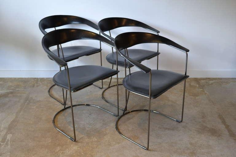 Four Black Leather And Gun Metal Chrome Dining Chairsaarben Pertaining To Most Current Chrome Leather Dining Chairs (View 15 of 20)