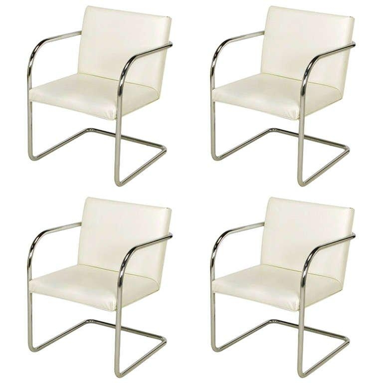 Four Thonet White And Chrome Cantilever Dining Chairs At 1Stdibs Inside Most Up To Date Chrome Dining Chairs (Image 14 of 20)