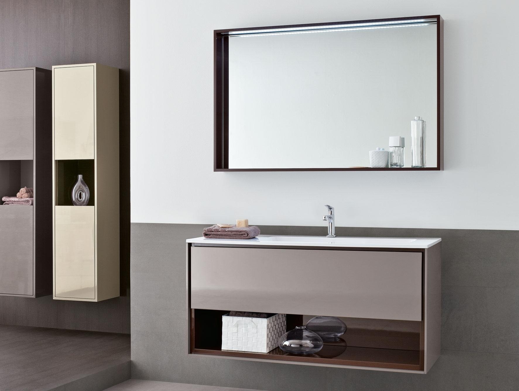 Frame Fr2 Modern Italian Designer Bathroom Furniture In Brown Lacquer In Modern Bath Mirrors (Image 15 of 20)