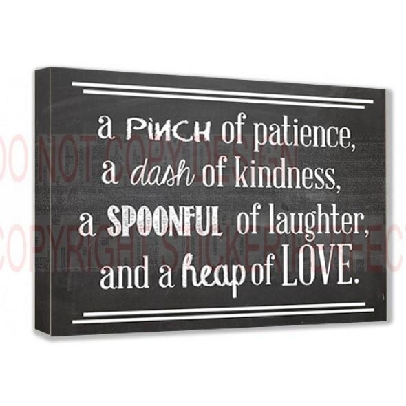 Framed Canvas Print A Pinch Of Patience, A Dash Of Kindness, A Inside Framed Wall Art Sayings (View 7 of 20)