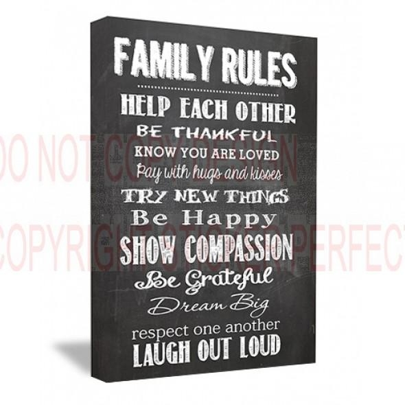 Framed Canvas Print Family Rules Help Each Other Be Thankful Know Pertaining To Framed Wall Art Sayings (View 4 of 20)
