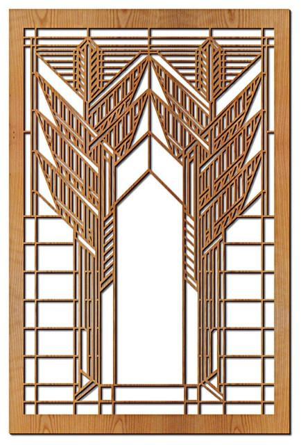 Frank Lloyd Wright Double Dana Sumac Wood Art Screen Wall Panel Regarding Frank Lloyd Wright Wall Art (Image 9 of 20)