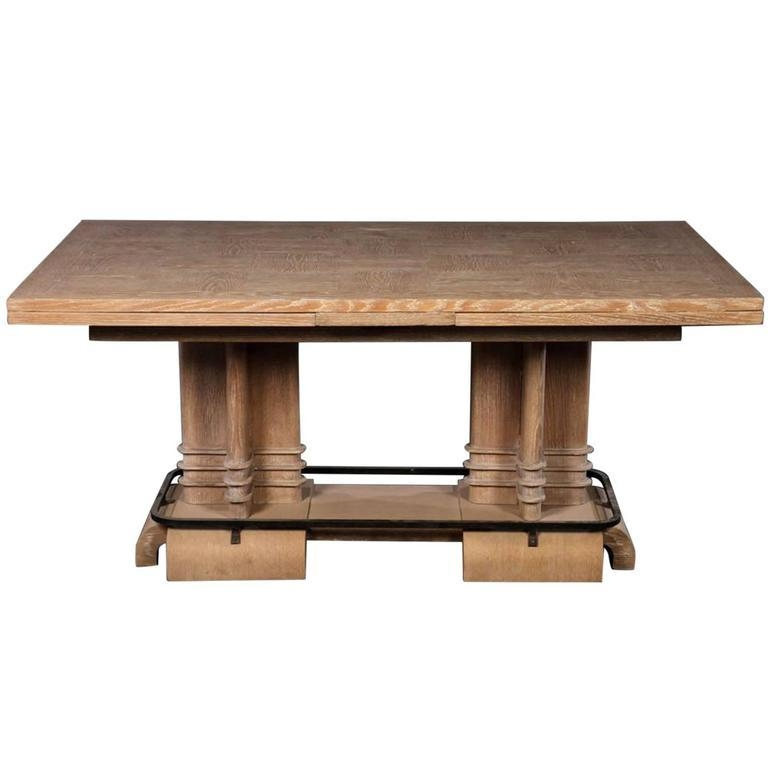 Frank Lloyd Wright Style Art Deco Cerused Oak Dining Table For Inside Recent Oak Dining Tables (Image 13 of 20)