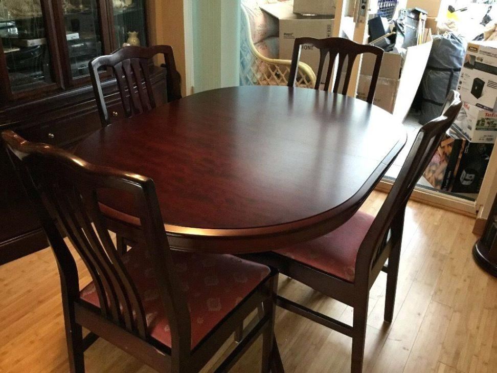 Free Mahogany Wooden Dining Table 4 Chairs Cd Rack Turner Stag With Regard To Most Up To Date Mahogany Dining Tables And 4 Chairs (View 6 of 20)