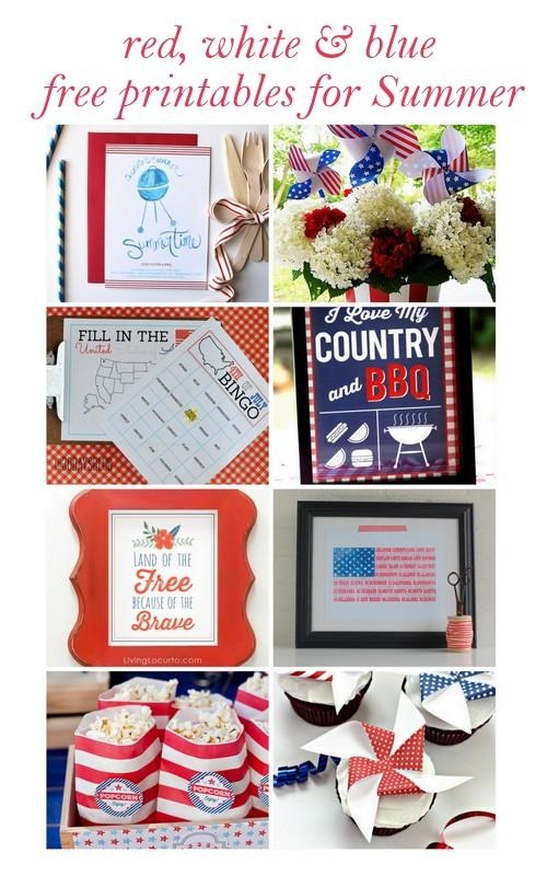 Free Printable Patriotic Wall Art {Red White & Blue Blog Hop} In Red White And Blue Wall Art (Image 10 of 20)