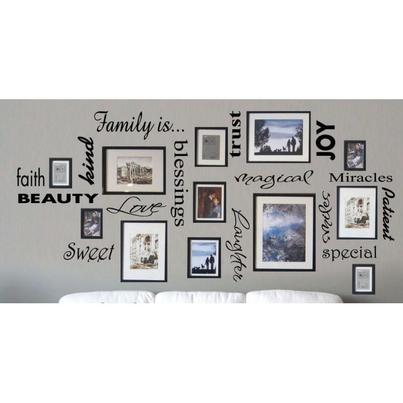 Free Shipping Family Is Vinyl Wall Lettering Quote Wall Art Inside Family Wall Art Picture Frames (Image 10 of 20)