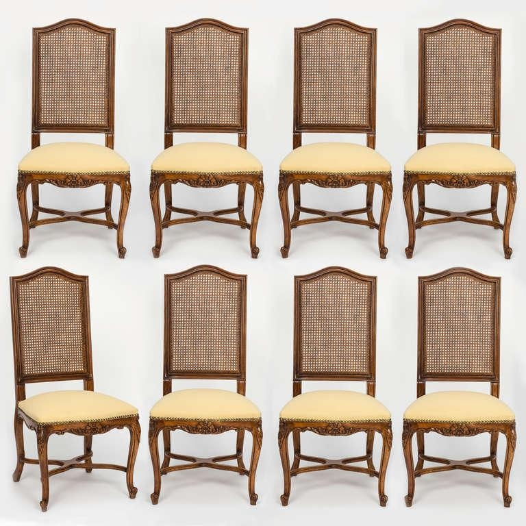 French Cane Tall High Back Dining Chairs Set Of 8 At 1Stdibs Throughout Latest High Back Dining Chairs (Image 8 of 20)