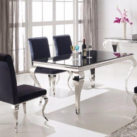 French Contemporary Dining Table Throughout Current Chrome Dining Room Chairs (Image 9 of 20)