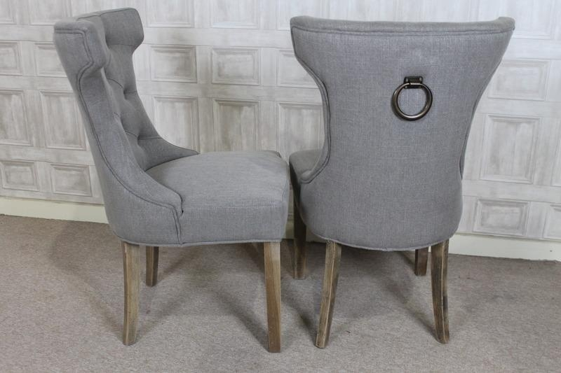 French Style Upholstered Dining Chair In Stone With Button Back With Best And Newest Ebay Dining Chairs (Image 17 of 20)