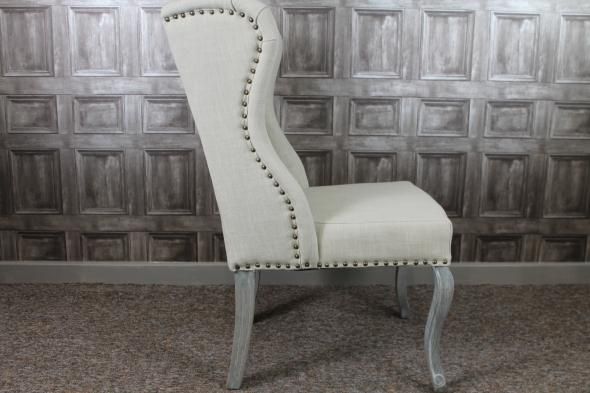 French Upholstered Dining Chairs In Cream Linen In Best And Newest Button Back Dining Chairs (Image 11 of 20)